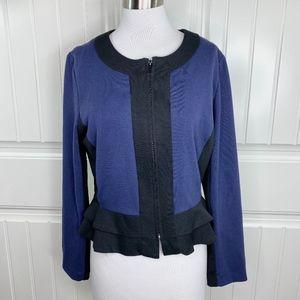 Sandro Studio Navy Blue Zip Front Peplum Jacket